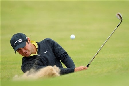 SOUTHPORT, UNITED KINGDOM - JULY 15:  Trevor Immelman of South Africa hits out of a bunker during the second practice round of the 137th Open Championship on July 15, 2008 at Royal Birkdale Golf Club, Southport, England. (Photo by Stuart Franklin/Getty Images)