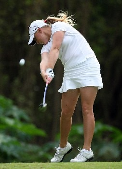 KAHUKU, HI - FEBRUARY 14:  Morgan Pressel hits her tee shot on the 15th hole during the first round of  the SBS Open on February 14, 2008  at the Turtle Bay Resort in Kahuku, Hawaii.  (Photo by Andy Lyons/Getty Images)