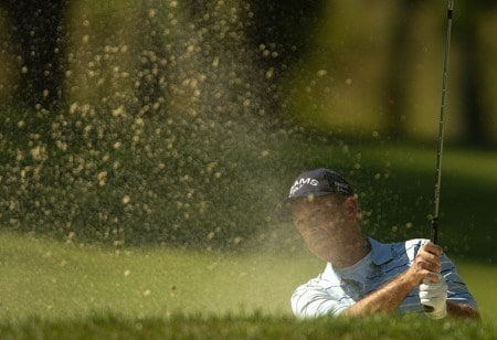 Larry Nelson hits from the sand on the fourth green during the first round of the 2005 U.S. Senior Open Championship at NCR Country Club, July 28, 2005 in Kettering, Ohio.Photo by Steve Grayson/WireImage.com