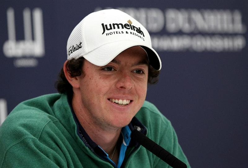 ST ANDREWS, SCOTLAND - OCTOBER 06:  Rory McIlroy of Northern Ireland speaks to the media during the practice round of The Alfred Dunhill Links Championship at The Old Course on October 6, 2010 in St Andrews, Scotland.  (Photo by Ross Kinnaird/Getty Images)