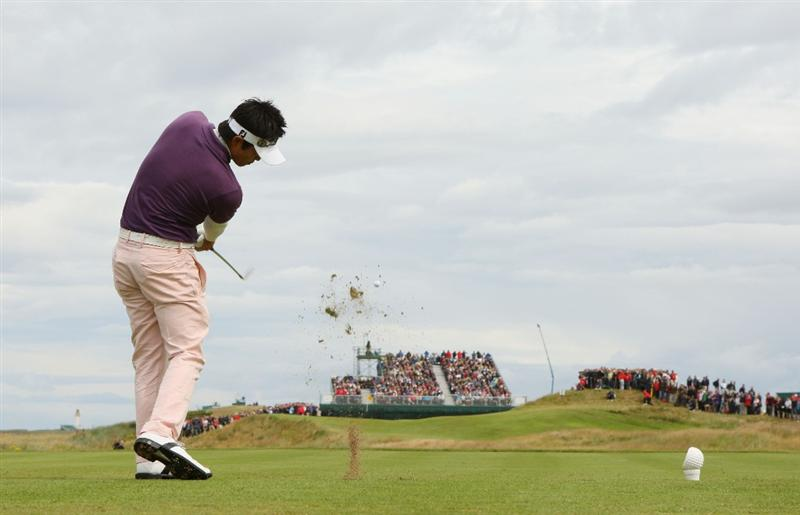 TURNBERRY, SCOTLAND - JULY 18:  Ryuji Imada of Japan tees off during round three of the 138th Open Championship on the Ailsa Course, Turnberry Golf Club on July 18, 2009 in Turnberry, Scotland.  (Photo by Andrew Redington/Getty Images)