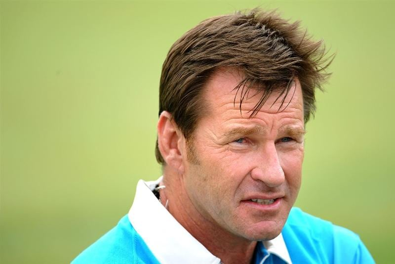 LOUISVILLE, KY - SEPTEMBER 20:  Captain Nick Faldo of the European team speaks with the media after the morning foursome matches on day two of the 2008 Ryder Cup at Valhalla Golf Club on September 20, 2008 in Louisville, Kentucky.  (Photo by Harry How/Getty Images)