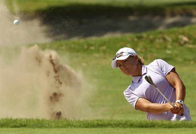 MELBOURNE, AUSTRALIA - FEBRUARY 03:  Katherine Hull of Australia plays a shot out of the bunker during day one of the Women's Australian Open at The Commonwealth Golf Club on February 3, 2011 in Melbourne, Australia.  (Photo by Lucas Dawson/Getty Images)