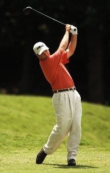 Ted Purdy hits from the 18th fairway during the final round of the 2005 EDS Byron Nelson Championship at TPC Los Colinas in Los Colinas, Texas May 15, 2005.Photo by Steve Grayson/WireImage.com