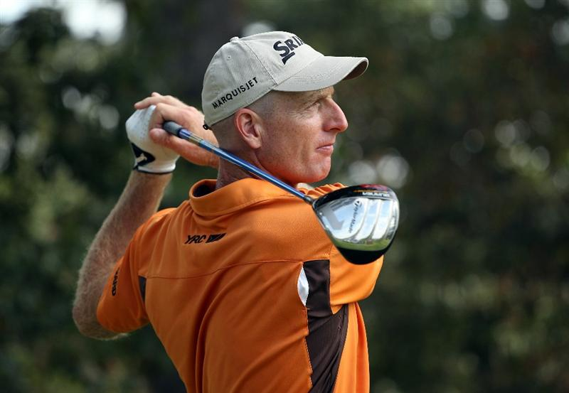 ATLANTA - SEPTEMBER 24:  Jim Furyk hits his tee shot on the 14th hole during the second round of THE TOUR Championship presented by Coca-Cola at East Lake Golf Club on September 24, 2010 in Atlanta, Georgia.  (Photo by Scott Halleran/Getty Images)