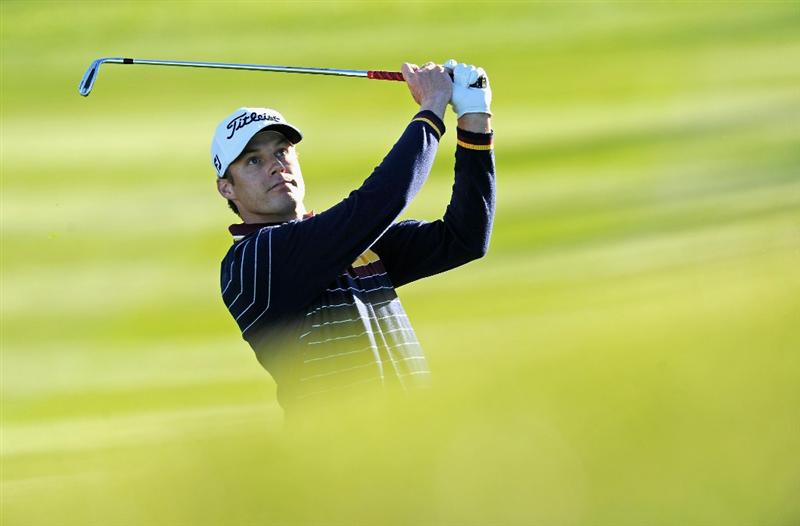 PEBBLE BEACH, CA - FEBRUARY 12:  Nick Watney plays his approach shot on the second hole during the third round of the AT&T Pebble Beach National Pro-Am at the Spyglass Hil Golf Course on February 11, 2011  in Pebble Beach, California  (Photo by Stuart Franklin/Getty Images)