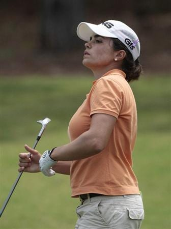 MOBILE, AL - MAY 14:  Maria Hernandez of Spain watches her chip to the second green during second round play in the Bell Micro LPGA Classic at the Magnolia Grove Golf Course on May 14, 2010 in Mobile, Alabama.  (Photo by Dave Martin/Getty Images)