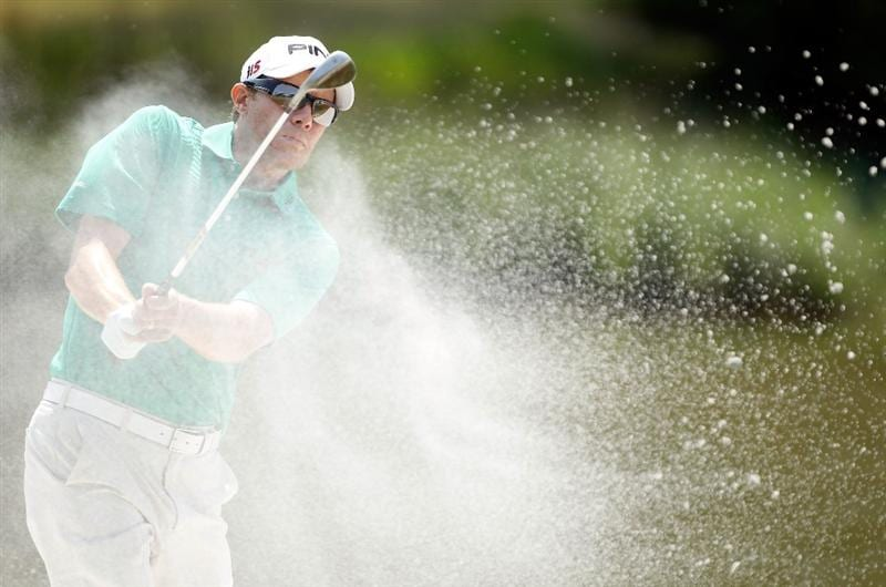 HILTON HEAD ISLAND, SC - APRIL 17:  Nick O'Hern of Australia plays a bunker shot on the 17th hole during the third round of the Verizon Heritage at the Harbour Town Golf Links on April 17, 2010 in Hilton Head lsland, South Carolina.  (Photo by Scott Halleran/Getty Images)