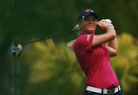 AVENTURA, FL - APRIL 24:  Suzann Pettersen of Norway hits a tee shot in the first round of the Stanford International Pro-Am at Fairmont Turnberry Isle Resort & Club April 24, 2008 in Aventura, Florida.  (Photo by Doug Benc/Getty Images)