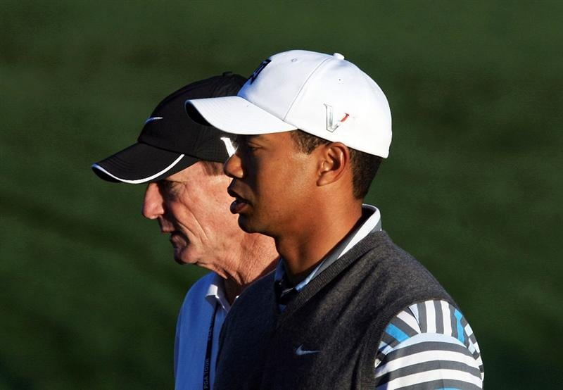 MARANA, AZ - FEBRUARY 24:  Tiger Woods walks with his coach Hank Haney during a practice round prior to the start of the Accenture Match Play Championship at the Ritz-Carlton Golf Club at Dove Mountain on February 24, 2009 in Marana, Arizona.  (Photo by Scott Halleran/Getty Images)