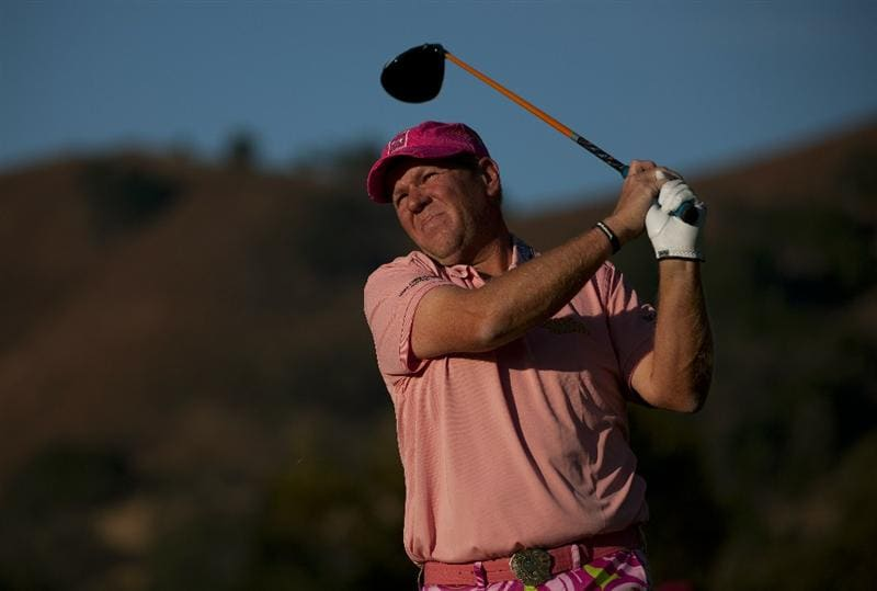 SAN MARTIN, CA - OCTOBER 14:  John Daly makes a tee shot on the 10th hole during the first round of the Frys.com Open at the CordeValle Golf Club on October 14, 2010 in San Martin, California.  (Photo by Robert Laberge/Getty Images)