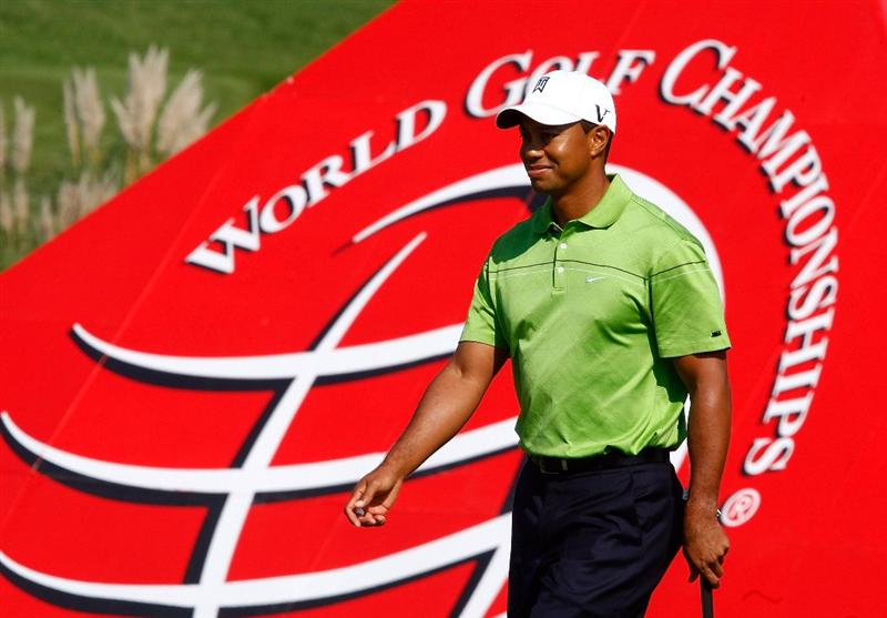 SHANGHAI, CHINA - NOVEMBER 04:  Tiger Woods of the USA walks across a green during the pro-am prior to the start of the WGC-HSBC Champions at Sheshan International Golf Club on November 4, 2009 in Shanghai, China.  (Photo by Scott Halleran/Getty Images)
