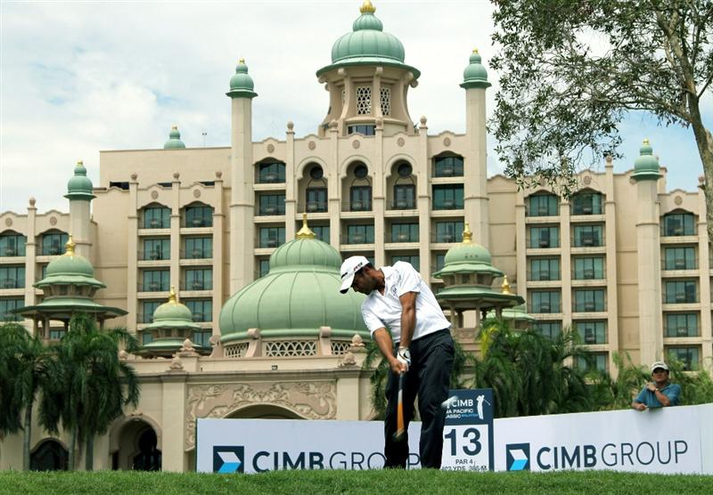KUALA LUMPUR, MALAYSIA - OCTOBER 29: Arjun Atwal of India tees off on the 13th hole during day two of the CIMB Asia Pacific Classic at The MINES Resort & Golf Club on October 29, 2010 in Kuala Lumpur, Malaysia. (Photo by Stanley Chou/Getty Images)