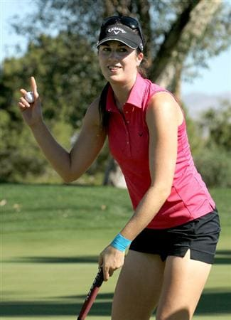 RANCHO MIRAGE, CA - MARCH 31:  Sandra Gal of Germany holds up her ball after making a birdie on the eighth hole during the first round of the Kraft Nabisco Championship at Rancho Mirage Country Club on March 31, 2011 in Rancho Mirage, California.  (Photo by Stephen Dunn/Getty Images)