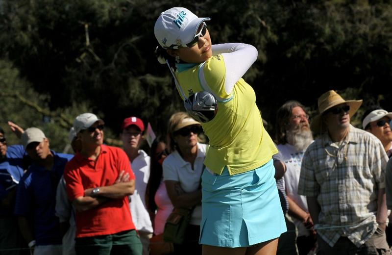 CARLSBAD, CA - MARCH 28:  Hee Kyung Seo of South Korea hits her tee shot on the seventh hole during the final round of the Kia Classic Presented by J Golf at La Costa Resort and Spa on March 28, 2010 in Carlsbad, California.  (Photo by Stephen Dunn/Getty Images)