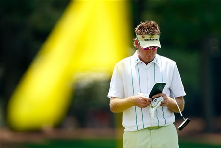 AUGUSTA, GA - APRIL 10:  Ian Poulter of England waits on the 18th green during the first round of the 2008 Masters Tournament at Augusta National Golf Club on April 10, 2008 in Augusta, Georgia.  (Photo by Jamie Squire/Getty Images)