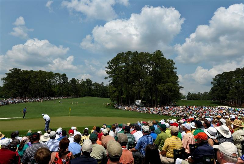 AUGUSTA, GA - APRIL 09:  Phil Mickelson plays a shot on the second hole during the third round of the 2011 Masters Tournament at Augusta National Golf Club on April 9, 2011 in Augusta, Georgia.  (Photo by Harry How/Getty Images)