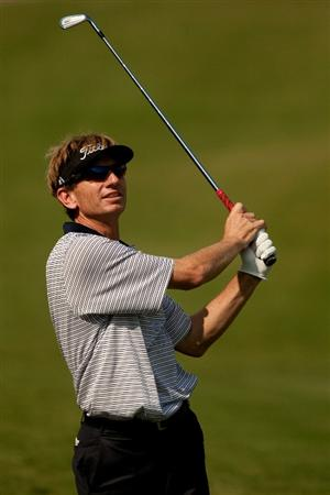 IRVING, TX - MAY 20: Brad Faxon follows through on an approach shot during the first round of the HP Byron Nelson Championship at TPC Four Seasons Resort Las Colinas on May 20, 2010 in Irving, Texas. (Photo by Darren Carroll/Getty Images)