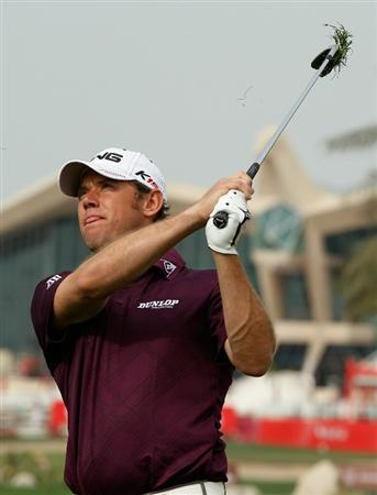 ABU DHABI, UNITED ARAB EMIRATES - JANUARY 18:  Lee Westwood of England watches a shot during a practice round prior to the start of the 2011 Abu Dhabi HSBC Golf Championship  at the Abu Dhabi Golf Club on January 18, 2011 in Abu Dhabi, United Arab Emirates.  (Photo by Scott Halleran/Getty Images)