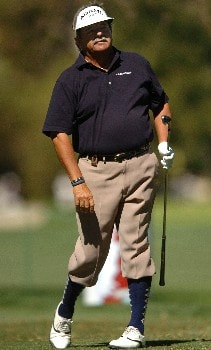 Rodger Davis tees off on the 7th hole during the first round of the Champions' Tour 2005 SBC Classic at the Valencia Country Club in Valencia, California March 11, 2005.