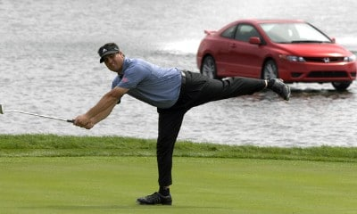 Pat Perez sinks a birdie putt on the 18th hole  during the second round of The 2007 Honda Classic on March 2, 2007 in Palm Beach Gardens, Florida. Photo by Al Messerschmidt/WireImage.com