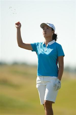 PRATTVILLE, AL - OCTOBER 8: Haeji Kang of South Korea tests the wind during the second round of the Navistar LPGA Classic at the Senator Course at the Robert Trent Jones Golf Trail on October 8, 2010 in Prattville, Alabama. (Photo by Darren Carroll/Getty Images)