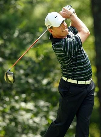 NORTON, MA - SEPTEMBER 05:  Justin Leonard tees off on the ninth hole during the third round of the Deutsche Bank Championship at TPC Boston on September 5, 2010 in Norton, Massachusetts.  (Photo by Mike Ehrmann/Getty Images)