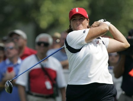 Meg Mallon in action during the Sunday singles matches at the Solheim Cup at Crooked Stick Golf Club in Carmel, Indiana on September 11, 2005.Photo by Michael Cohen/WireImage.com