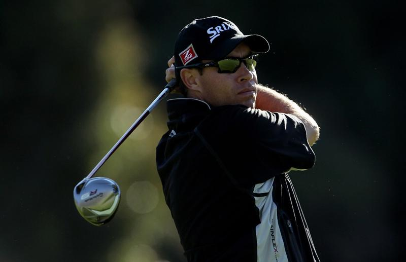 PACIFIC PALISADES, CA - FEBRUARY 07: Brian Davis of England hits a tee shot on the second hole during the final round of the Northern Trust Open at Riviera Country Club on February 7, 2010 in Pacific Palisades, California. (Photo by Jeff Gross/Getty Images)