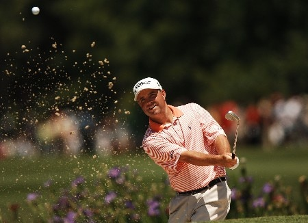 Brian Bateman hits from the bunker on the fourth hole during the final round of the 2005 Shell Houston Open at the Redstone Golf Club in Houston, Texas April 24, 2005.Photo by Steve Grayson/WireImage.com