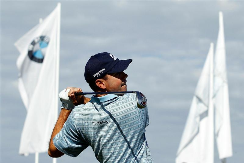 LEMONT, IL - SEPTEMBER 09:  Matt Kuchar tees off on the 12th hole during the first round of the BMW Championship at Cog Hill Golf & Country Club on September 9, 2010 in Lemont, Illinois.  (Photo by Scott Halleran/Getty Images)
