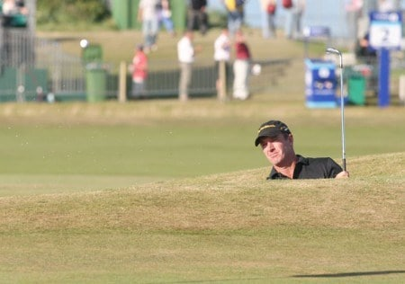 Peter Lonard during the third round of the 2005 British Open Golf Championship at the Royal and Ancient Golf Club in St. Andrews, Scotland on July 16, 2005.Photo by Phil Inglis/WireImage.com