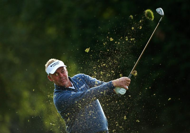 CRANS, SWITZERLAND - SEPTEMBER 02:  Darren Clarke of Northern Ireland plays his second shot into the 10th green during the first round of The Omega European Masters at Crans-Sur-Sierre Golf Club on September 2, 2010 in Crans Montana, Switzerland.  (Photo by Warren Little/Getty Images)