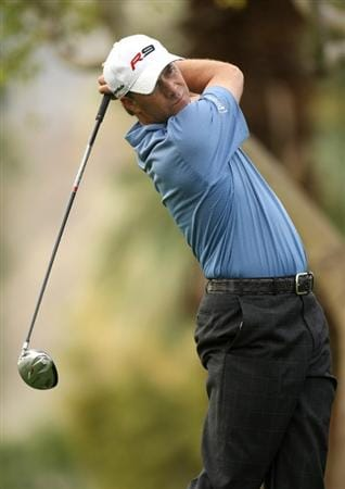 LA QUINTA, CA - JANUARY 22:  Scott McCarron hits his tee shot on the second hole on the Palmer Private Course at PGA West during the second round of the Bob Hope Chrysler Classic on January 22, 2009 in La Quinta, California.  (Photo by Stephen Dunn/Getty Images)