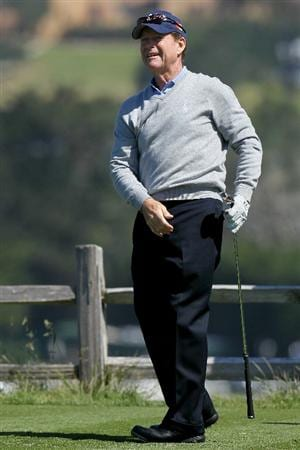 PEBBLE BEACH, CA - JUNE 16:  Tom Watson watches a shot during a practice round prior to the start of the 110th U.S. Open at Pebble Beach Golf Links on June 16, 2010 in Pebble Beach, California.  (Photo by Stephen Dunn/Getty Images)