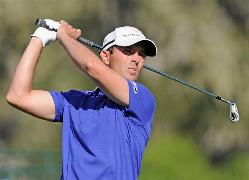 PEBBLE BEACH, CA - FEBRUARY 11: Mike Weir of Canada plays his tee shot on the 17th hole during the second round of the AT&T Pebble Beach National Pro-Am at the Pebble Beach Golf Links on February 11, 2011  in Pebble Beach, California  (Photo by Stuart Franklin/Getty Images)