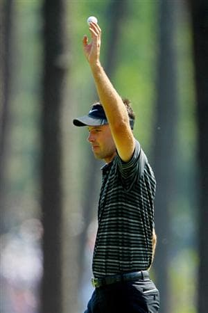 AUGUSTA, GA - APRIL 10:  Charl Schwartzel of South Africa celebrates after holing a shot for eagle on the third green during the final round of the 2011 Masters Tournament on April 10, 2011 in Augusta, Georgia.  (Photo by Jamie Squire/Getty Images)