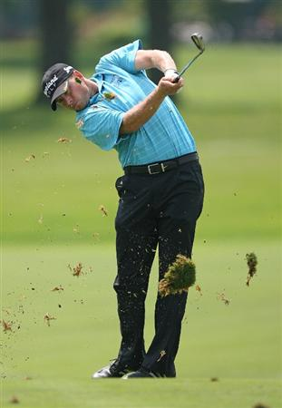 COLUMBUS, OH - AUGUST 02 : Dave Schultz hits his second shot on the seventh hole during the final round of the Nationwide Children's Hospital Invitational at The Ohio State Golf Club on August 2, 2009 in Columbus, Ohio. (Photo by Hunter Martin/Getty Images)