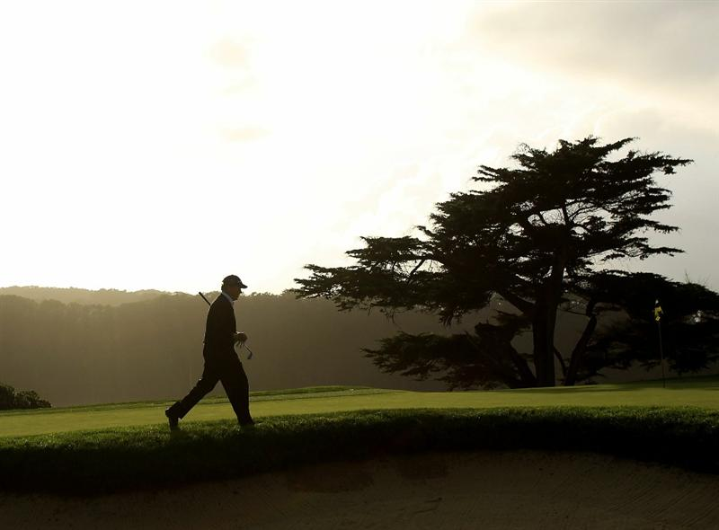 SAN FRANCISCO - NOVEMBER 07:  Michael Allen walks on to the green on the 16th hole during the final round of the Charles Schwab Cup Championship at Harding Park Golf Course on November 7, 2010 in San Francisco, California.  (Photo by Ezra Shaw/Getty Images)