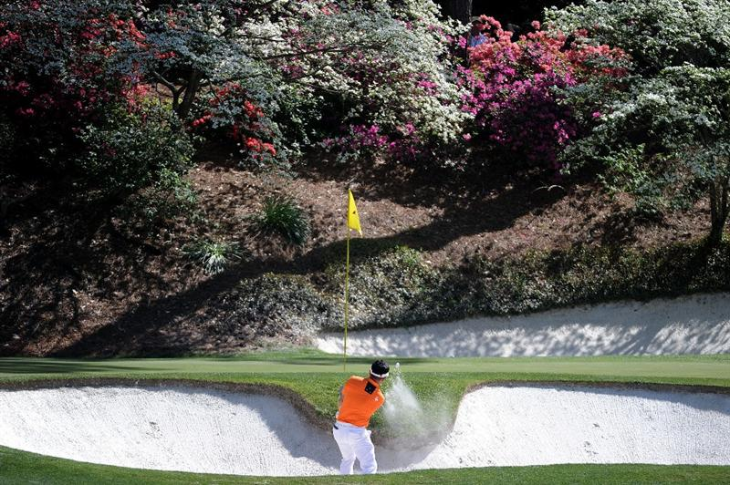 AUGUSTA, GA - APRIL 07:  Y.E. Yang of South Korea hits a bunker shot on the 12th hole during the first round of the 2011 Masters Tournament at Augusta National Golf Club on April 7, 2011 in Augusta, Georgia.  (Photo by Harry How/Getty Images)