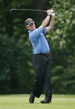 BETHESDA, MD - JULY 4: Todd Hamilton hits his tee shot on the 14th hole during the second round of the AT&T National at Congressional Country Club on July 4, 2008 in Bethesda, Maryland. (Photo by Hunter Martin/Getty Images)