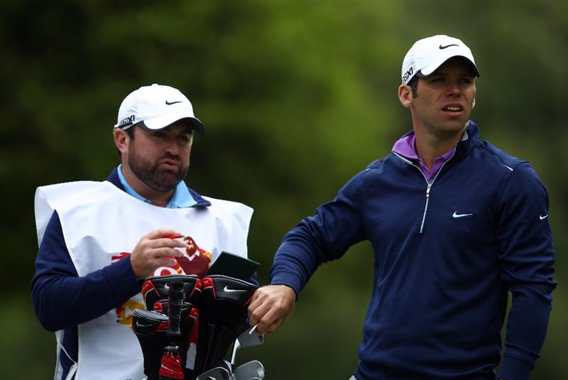 VIRGINIA WATER, ENGLAND - MAY 23:  Paul Casey and caddy Craig Connelly in action during a press conference for the 'Ole Seve' Pro-Am in aid of the Seve Ballesteros Foundation at Wentworth Club on May 23, 2011 in Virginia Water, England.  (Photo by Richard Heathcote/Getty Images)