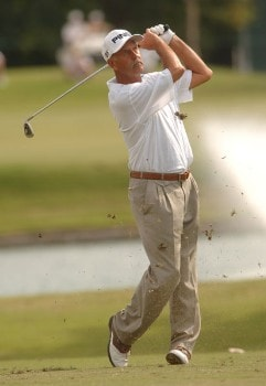 Mark James hits from the 12th fairway during the final round of the Champion's TOUR 2005 SBC Championship at Oak Hill Country Club in San Antonio, Texas October 23, 2005.Photo by Steve Grayson/WireImage.com