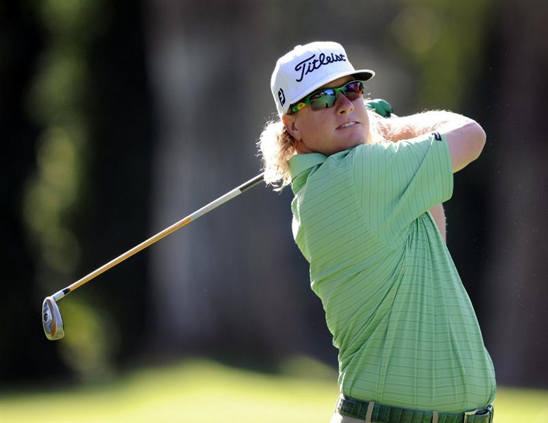 PACIFIC PALISADES, CA - FEBRUARY 17:  Charley Hoffman hits his second shot on the 11th hole during the first round of the Northern Trust Open at the Riviera Country Club on February 17, 2011 in Pacific Palisades, California.  (Photo by Harry How/Getty Images)