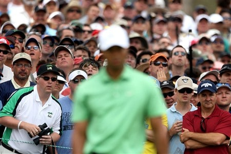 SAN DIEGO - JUNE 13:  Golf fans watch the play of Tiger Woods during the second round of the 108th U.S. Open at the Torrey Pines Golf Course (South Course) on June 13, 2008 in San Diego, California.  (Photo by Donald Miralle/Getty Images)