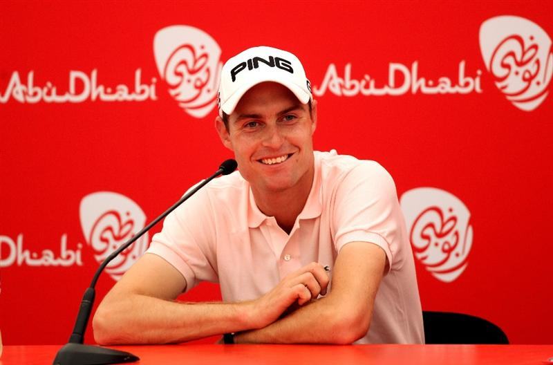 ABU DHABI, UNITED ARAB EMIRATES - JANUARY 22:  Rhys Davies of Wales talks to the media after the second round of The Abu Dhabi Golf Championship at Abu Dhabi Golf Club on January 22, 2010 in Abu Dhabi, United Arab Emirates.  (Photo by Andrew Redington/Getty Images)