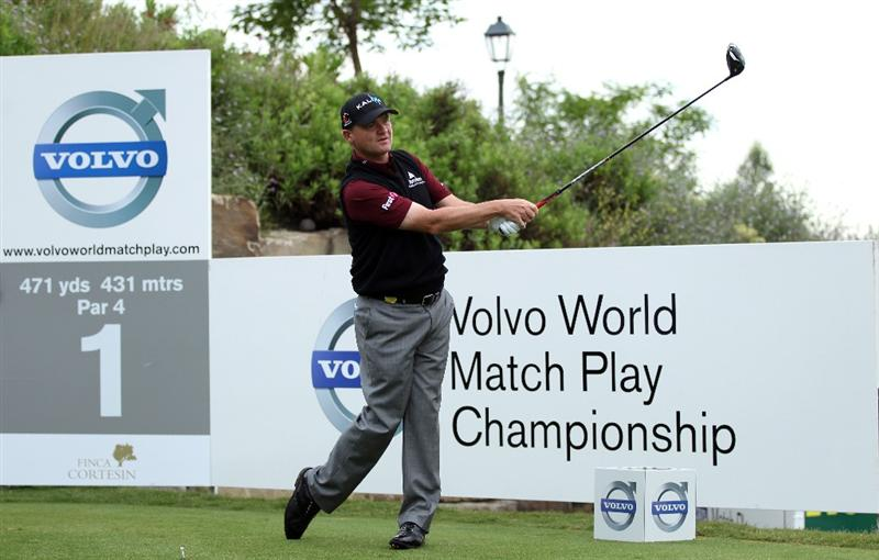 CASARES, SPAIN - MAY 20:  Paul Lawrie of Scotland on the 1st tee during the group stages of the Volvo World Match Play Championship at Finca Cortesin on May 20, 2011 in Casares, Spain.  (Photo by Ross Kinnaird/Getty Images)