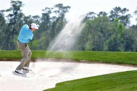 HUMBLE, TX - APRIL 06:  Chad Campbell blasts out of the 3rd hole greenside bunker hole during the final round of the Shell Houston Open at Redstone Golf Club April 6, 2008 in Humble, Texas.  (Photo by Marc Feldman/Getty Images)