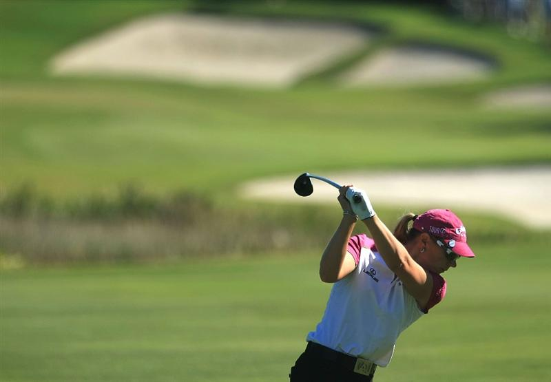 WEST PALM BEACH, FL - NOVEMBER 20:  Annika Sorenstam of Sweden hits her second shot on the third hole during the first round of the ADT Championship at the Trump International Golf Club on November 20, 2008 in West Palm Beach, Florida.  (Photo by Scott Halleran/Getty Images)