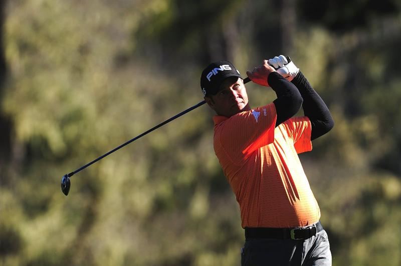 PEBBLE BEACH, CA - FEBRUARY 13:  Ted Purdy tees off on the 17th hole during round three of the AT&T Pebble Beach National Pro-Am at Spyglass Hill Golf Course on February 13, 2010 in Pebble Beach, California.  (Photo by Stuart Franklin/Getty Images)